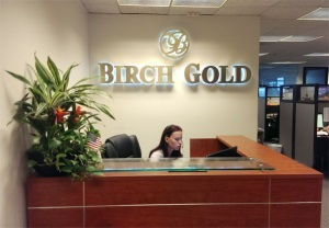 Birch Gold Group Reception Desk